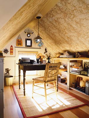 An attic home office could be really cute and cozy.