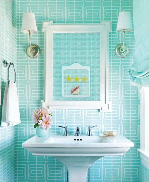 Cute Turquoise Bathroom