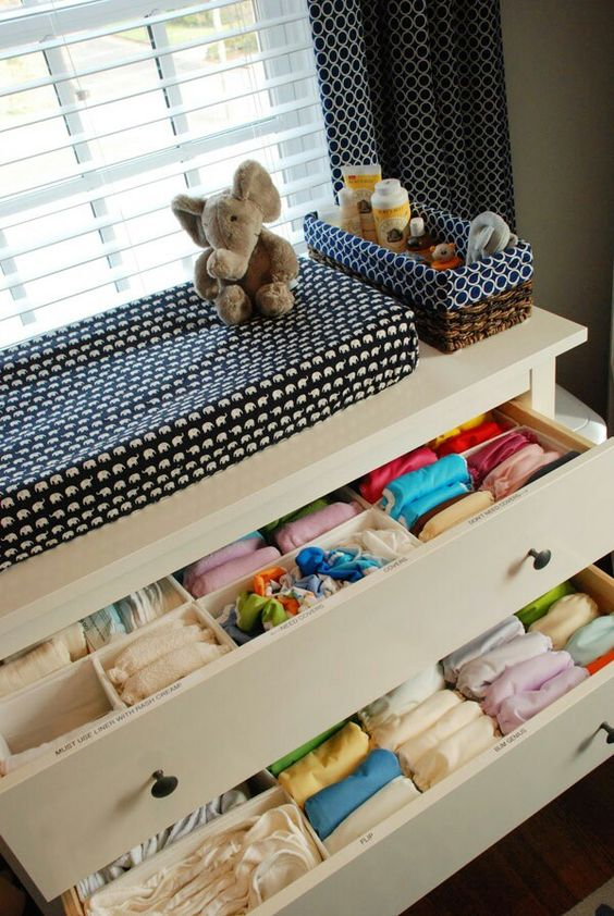 a simple dresser that doubles as a changing table is a comfy organization idea that won't take much space