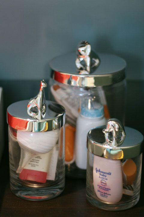 some sheer glass jars with lids will help you organize the small stuff that you have