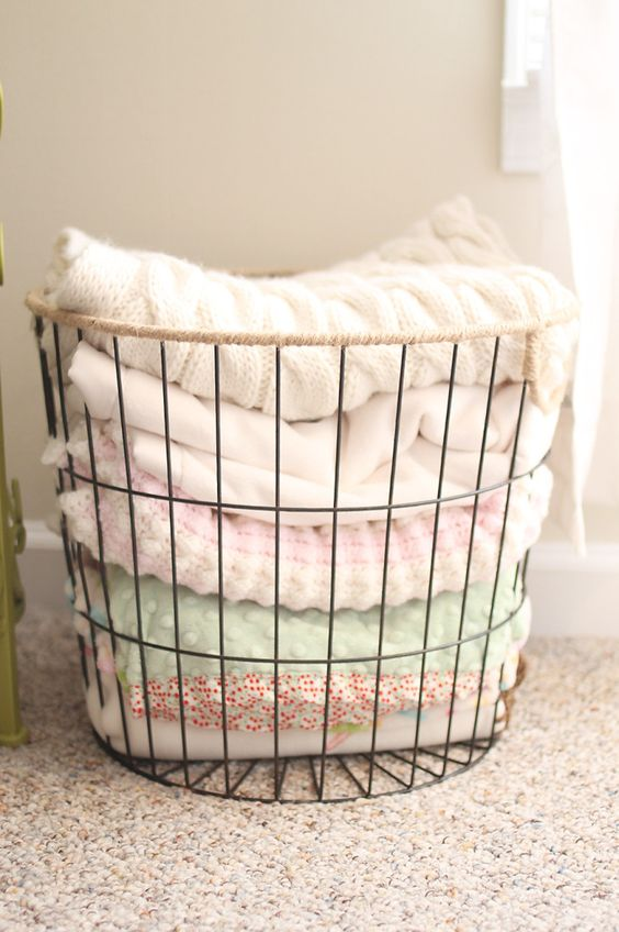 a wire basket is ideal for storing textiles, towels and other stuff, which isn't very small
