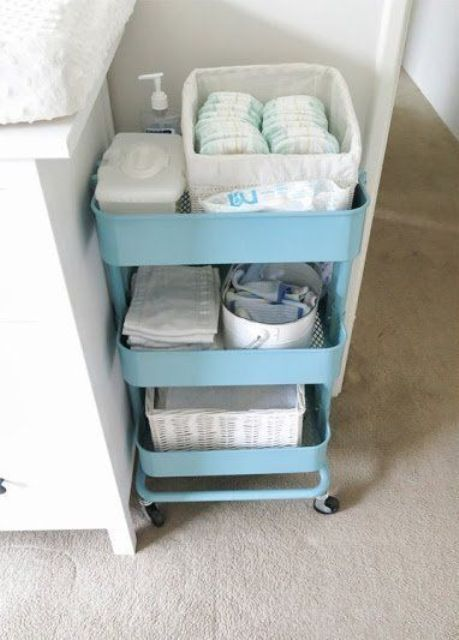 a blue Raskog cart by IKEA is a very popular organizer for nurseries and other rooms, too