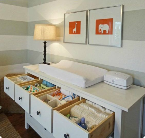 a dresser changing table with drawers is a cool idea for storage and organization in any nursery