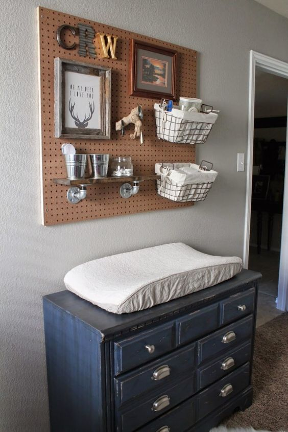 a pegboard with wire and fabric baskets plus some small buckets will meet all your needs on storage