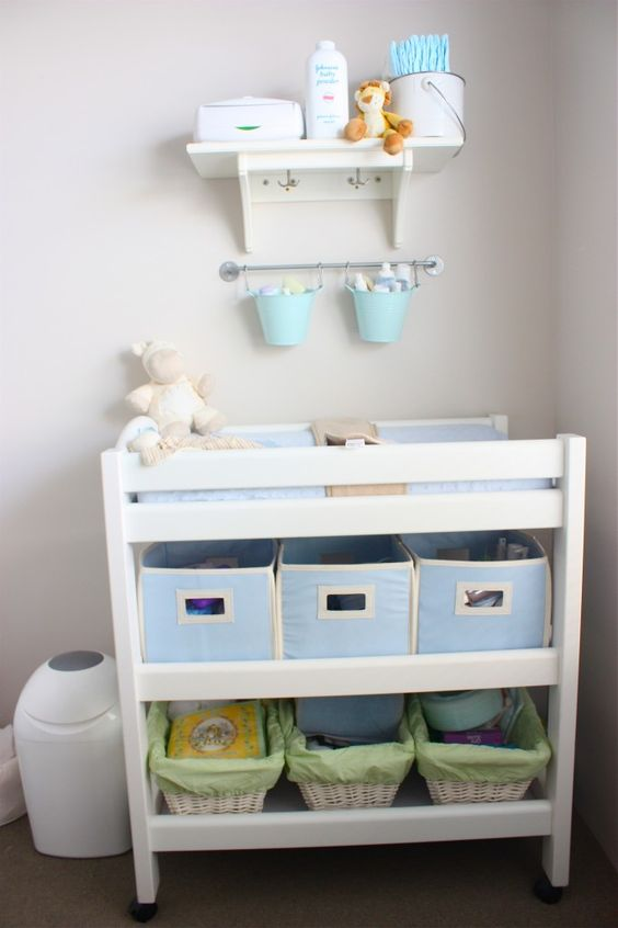 a simple changing table done with fabric boxes and baskets as drawers is an eay way to organize