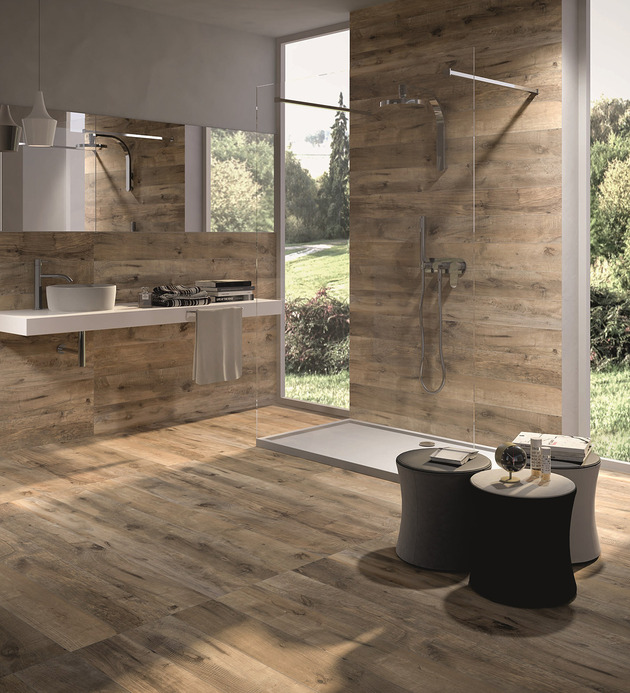 Dakota ceramic tiles that replicate aged wood digsdigs for Plancher teck exterieur