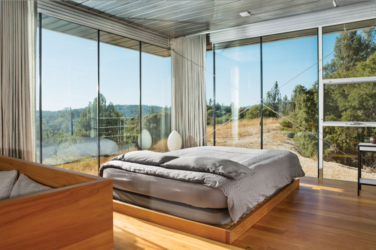 picture of daring glass bedroom design ideas