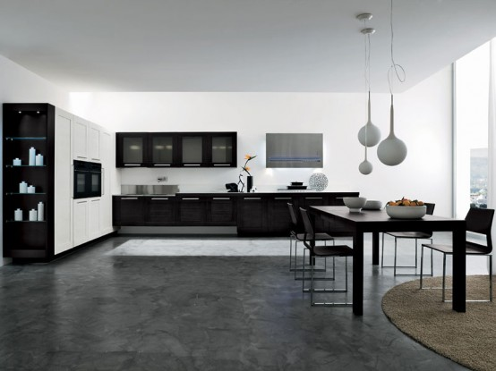 Dark Brown And White Dogma Kitchen