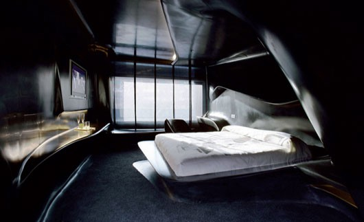 Dark Futuristic Hotel Style Bedroom