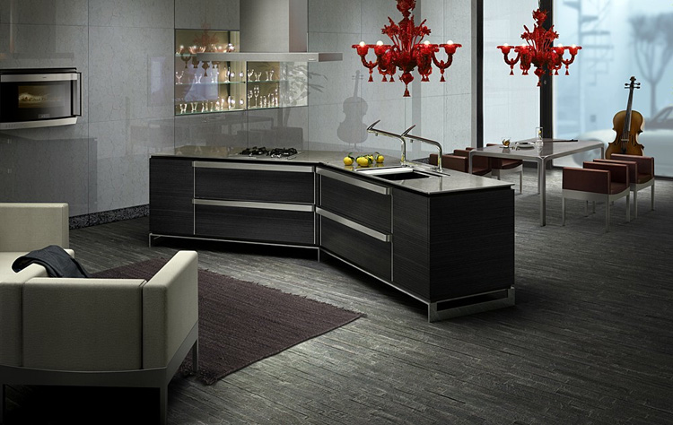 Dark japanese kitchen designs with innovative island for Japanese kitchen designs
