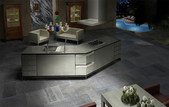 dark kitchen with innovative island