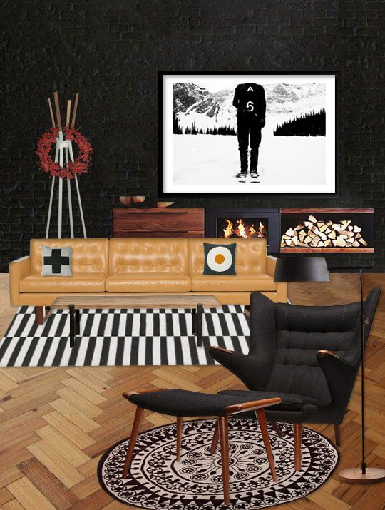 dark modern living room with black and white rug