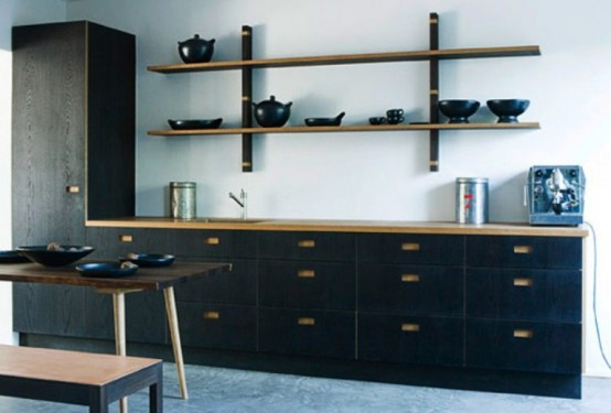 Dark Natural Wood Kitchen Furniture Collection