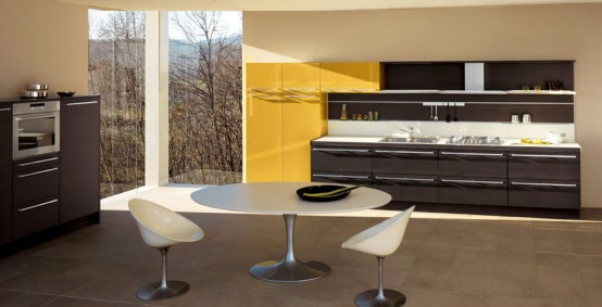 dark oak glossy yellow kitchen