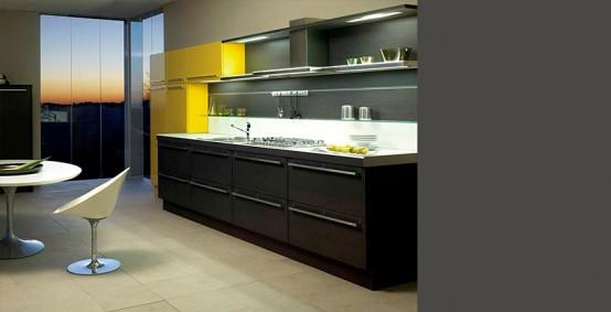 dark oak glossy yellow kitchen sistema zeta