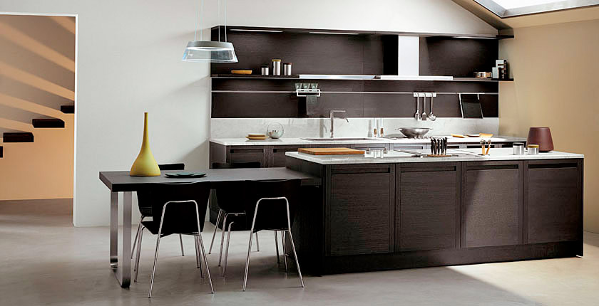 Dark oak kitchen with glossy white cabinets sistema zeta collection