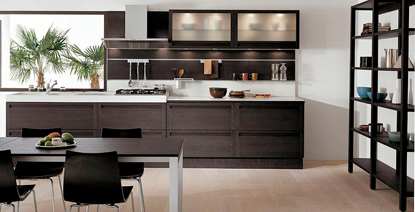 Dark Oak Wood Kitchen Cabinets 840 x 430