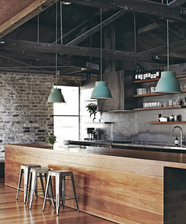 Dark Rustic Ceiling And Lots Of Other Lements Make This Kitchen Design Truly