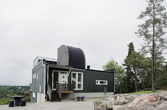 Dark Swedish House Deisgn With Dettached Garage