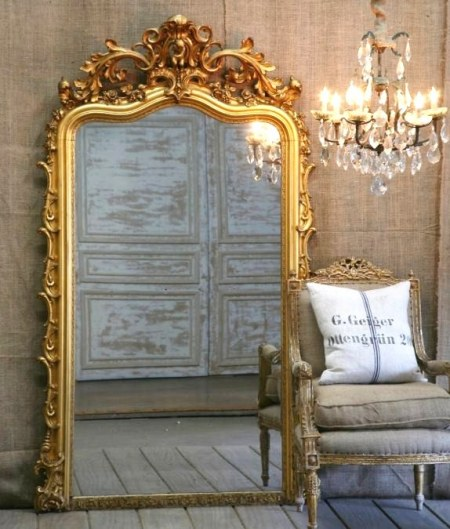 33 cool idea to use big golden mirrors for your decor for Gold frame floor mirror
