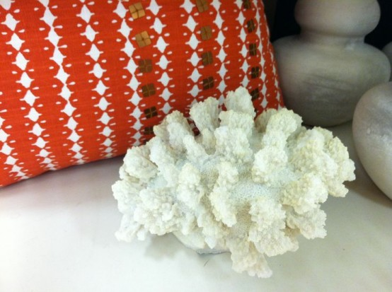 corals and coral-colored pillows are great for giving a seaside feel to your space and make it look bold and cool