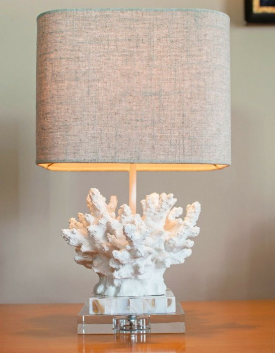 a lovely rustic coastal lamp with a coral base and a burlap lampshade is a lovely and pretty idea to rock
