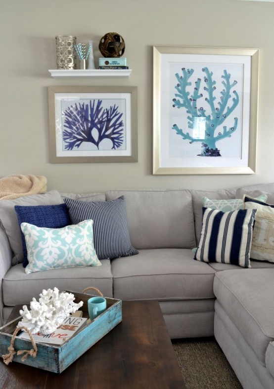 coral artworks and corals in a tray are a lovely idea to decorate your home in seaside style and do that easily