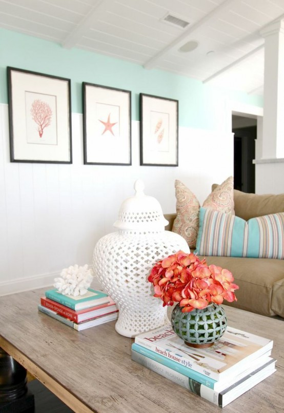 Bedroom Decor Coral decorating with sea corals: 34 stylish ideas - digsdigs