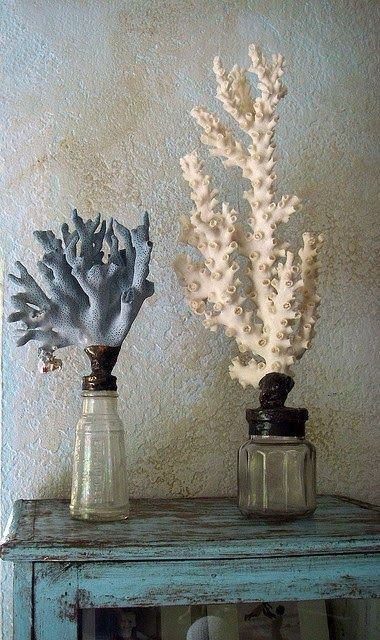 coral home decor - corals placed into bottles and painted white and blue look bold and very cool