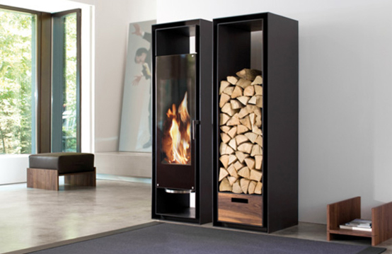 Built-In Cabinets With Decorative Fireplace with Logs Storage – Gate by Conmoto