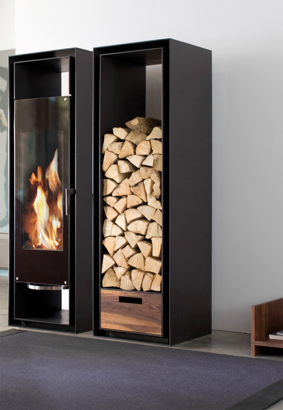 Built In Cabinets With Decorative Fireplace With Logs