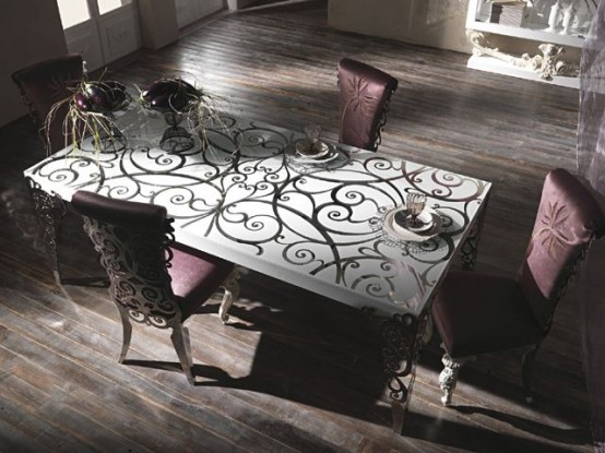 Classic Italian Furniture with Curved Decorations White Titania