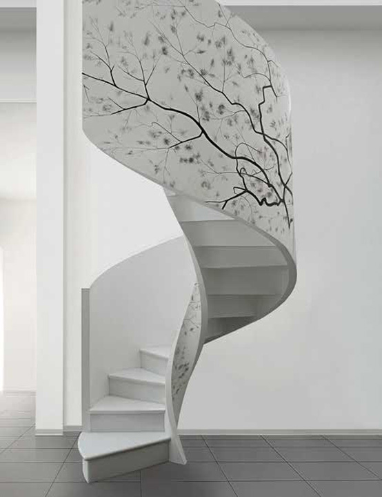 10 the most cool spiral staircase designs digsdigs for Gorgeous modern staircase wall design