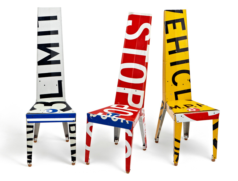 Decorative Chairs and Small Tables Made Of Recycled Street Signs – Transit by Boris Bally