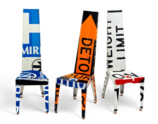 Decorative Chairs And Small Tables Made Of Recycled Street Signs