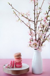 put cherry blossoms in a vase and place them in your kitchen to make it feel spring-y