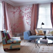 cherry blossom decals on the walls makes them cool and more eye-catchy plus spring-like