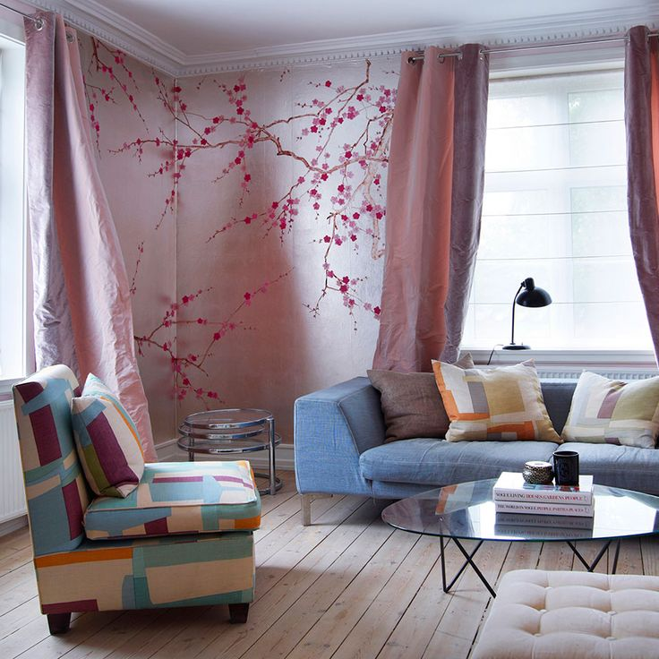 cherry blossom decals on the walls makes them cool and more eye catchy plus spring like