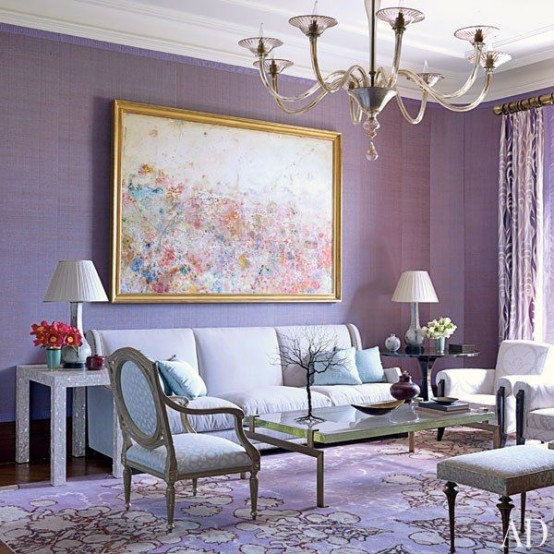 39 delicate home d cor ideas with lavender color digsdigs for Mauve living room decor