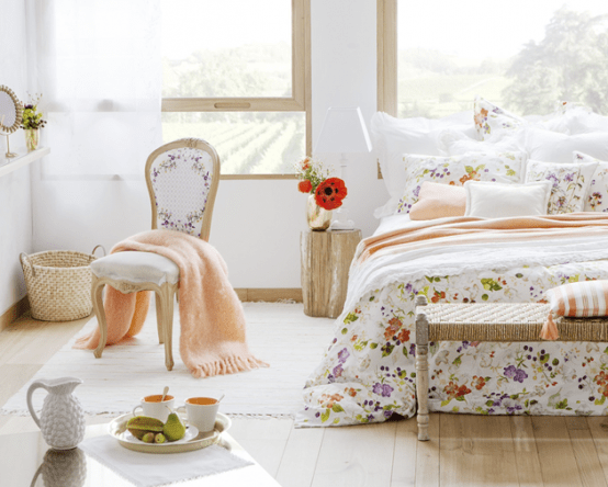 Delightful Summer Bedroom Design In Peach And White