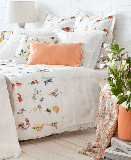 Delightful Summer Bedroom Design In Peach And White - DigsDigs