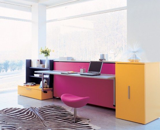 Desk Combined With Single Bed And Storage