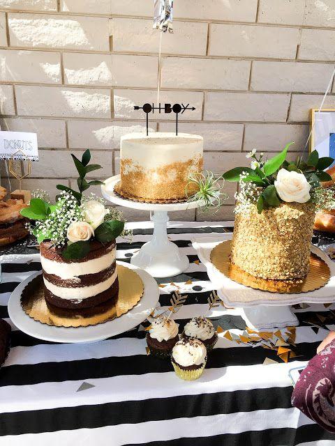 dessert table for a modern baby shower