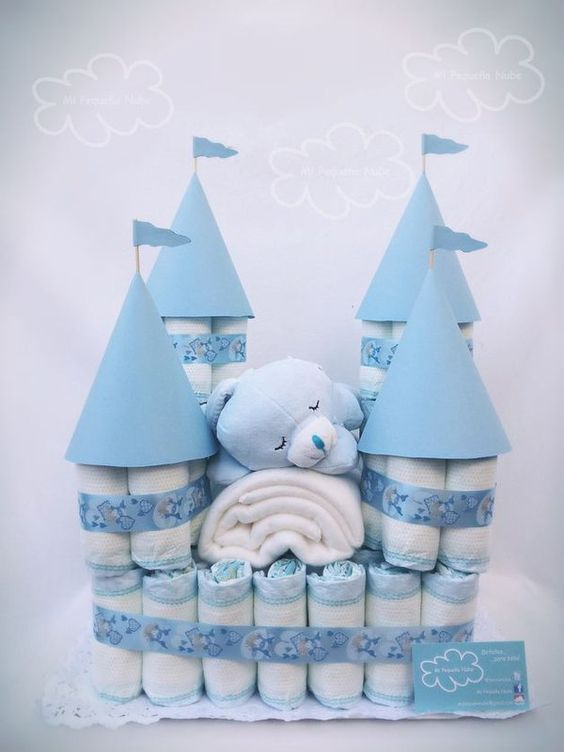 diapers house decoration for a boy baby shower