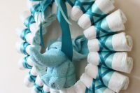 diapers wreath for a boy baby shower