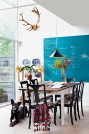Dining Area With A Virant Wall Chalkboard