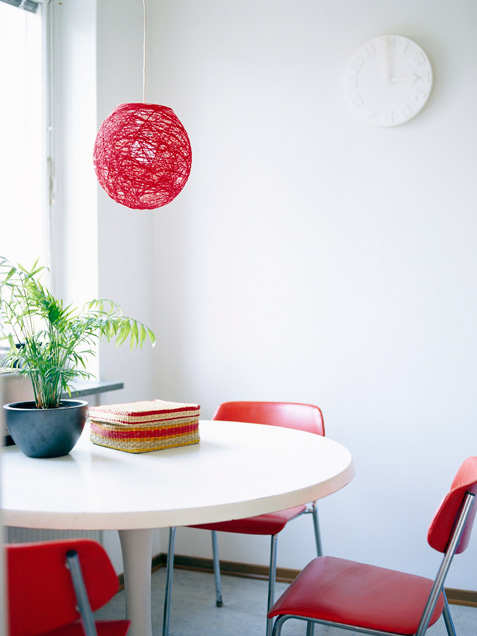 Dining Area With Red Accents