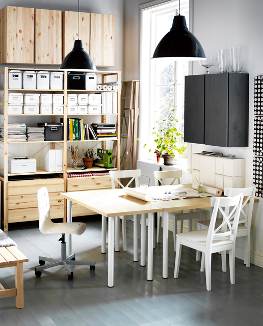 57 cool small home office ideas digsdigs for Dining room office combo