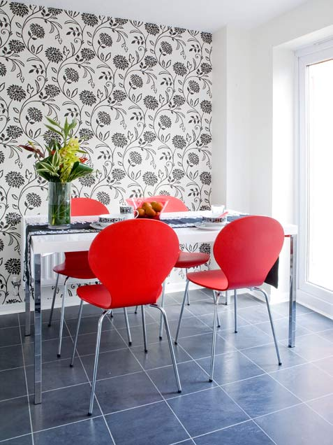 Dining Room With Bright Red Chairs
