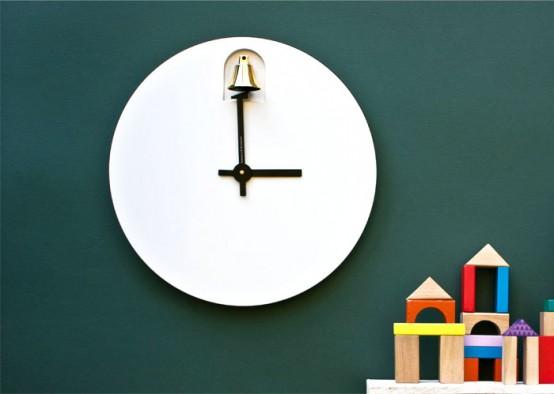 Dinn A Minimalist Clock With A Brass Bell